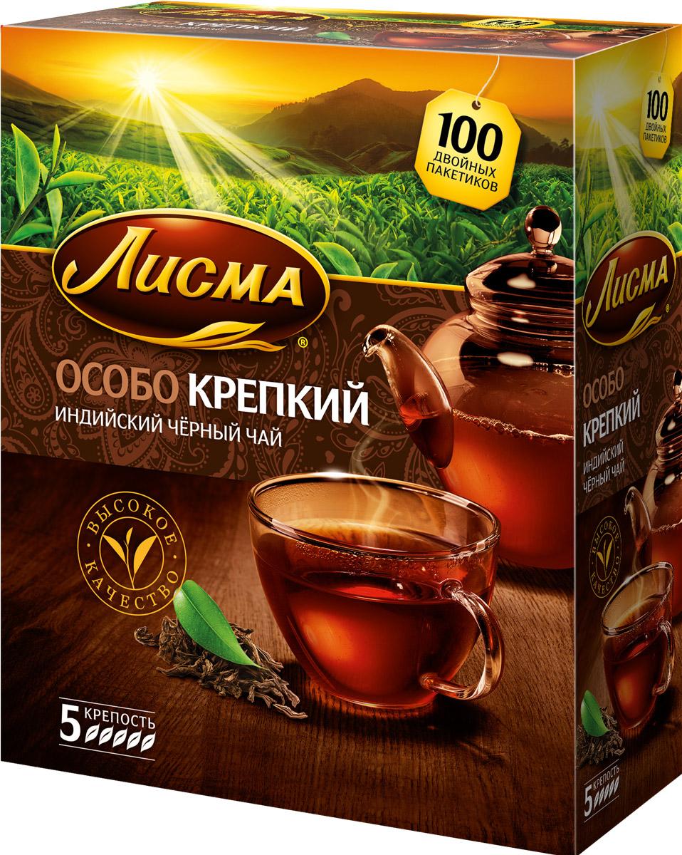 Лисма Особо Крепкий черный чай в пакетиках, 100 шт212701Лисма Особо Крепкий - индийский черный байховый чай в пакетиках. В коробке содержится 100 пакетиков по 2,3 грамма.Уважаемые клиенты! Обращаем ваше внимание на то, что упаковка может иметь несколько видов дизайна. Поставка осуществляется в зависимости от наличия на складе.