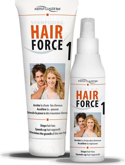 Hair Force One Комплект против выпадения волос: шампунь, 250 мл и лосьон, 150 мл1S1LHFСредства Hair Force One - это косметические средства против выпадения волос. Изготовлены во Франции. Не являются лекарственными средствами и не содержат гормонов. Комплексное применение средств Hair Force One позволяет сократить выпадение волос, ускорить рост волос, увеличить объем волос, уменьшить себорею.