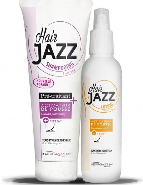 HairJAZZ Комплект для роста волос: шампунь, 250 мл и лосьон, 200 мл1S2501LСредства для роста волос HairJAZZ не являются лекарственными средствами и не содержат гормонов. Натуральные активные компоненты формулы средств HairJAZZ, такие как соевый белок, экстракт яичной скорлупы, кератин, витамин B6, восстанавливая здоровье кожи головы и питая фолликулы, стимулируют рост волос. Факт ускорения роста волос при комплексном применении средств HairJAZZ подтвержден клиническими испытаниями.
