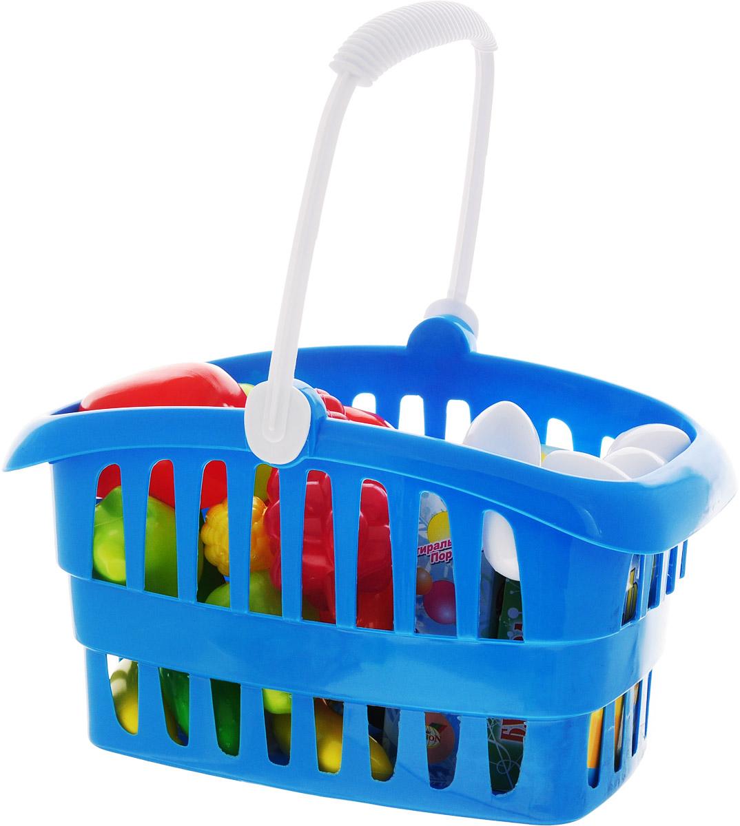 Орион Игрушечная корзина для супермаркета с продуктами цвет синий casdon корзина для покупок