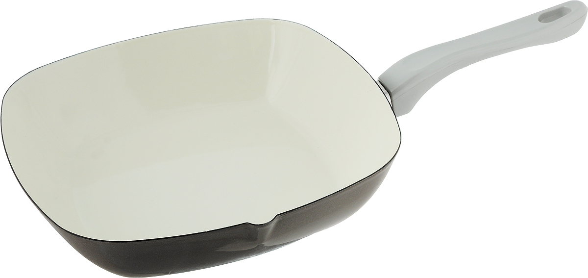 Сковорода эмалированная Metalac Posude Majestic, цвет: серый, 26 х 26 см147305Сковорода Metalac Posude Majestic изготовлена из стали с эмалированным покрытием.Стеклоэмаль инертна и устойчива к пищевым кислотам, не вступает во взаимодействие спродуктами и не искажает их вкус, не вызывает аллергию и надежно защищает пищу от контактас металлом. Покрытие устойчиво к механическому воздействию, не царапается и не сходит, астальная основа не подвержена механической деформации, благодаря чему, срок эксплуатацииувеличивается.Изделие оснащено удобной бакелитовой ручкой, которая не нагревается во время готовки.Подходит для всех видов плит, включая индукционные. Изделие можно мыть в посудомоечноймашине. Размер сковороды (по верхнему краю): 26 х 26 см. Длина ручки: 17.5 см. Высота стенки: 6 см. Размер дна: 18 х 18 см.