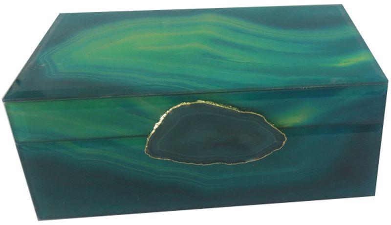 Шкатулка декоративная Magic Home Зеленый агат, 21 х 13 х 8 см44648Шкатулка Зеленый агат из стекла, внутри отделана бархатом. Шкатулка станет приятным подарком женщине по случаю праздника, она обязательно оценит ваш безупречный вкус.