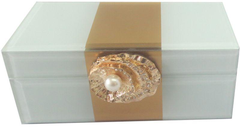 Шкатулка декоративная Magic Home Жемчужина, 15,5 х 7,5 х 6,5 см44649Шкатулка Жемчужина из стекла, внутри отделана бархатом. Шкатулка станет приятным подарком женщине по случаю праздника, она обязательно оценит ваш безупречный вкус.