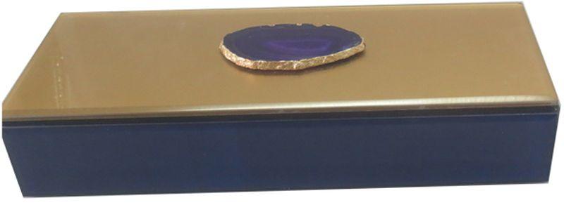 Шкатулка декоративная Magic Home Фиолетовый агат, 24 х 9,5 х 4,5 см44650Шкатулка Magic Home изготовлена из стекла. Внутри отделана бархатом. Вшкатулке удобно хранить различные мелочи, бижутерию и многое другое. Онастанетприятным подарком женщине по случаю праздника.