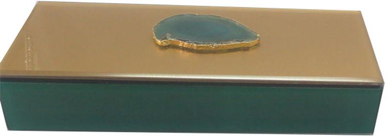 Шкатулка декоративная Magic Home Дымчато-зеленый агат, 24 х 9,5 х 4,5 см44651;44651Шкатулка Magic Home изготовлена из стекла. Внутри отделана бархатом. Вшкатулке удобно хранить различные мелочи, бижутерию и многое другое. Онастанетприятным подарком женщине по случаю праздника.