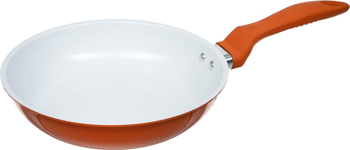 Сковорода NaturePan ColorLife, с керамическим покрытием, цвет: оранжевый. Диаметр 22 смCLP22_оранжевыйСковорода NaturePan ColorLife выполнена из алюминия и имеет современное керамическое антипригарное покрытие. Пища не пригорает и не прилипает к стенкам, поэтому можно готовить с минимальным количеством подсолнечного масла. Посуда безопасна для здоровья и экологична, не содержит примесей PFOA и PTFE. Внешнее покрытие (термостойкая эмаль) обеспечивает легкую чистку. Удобная эргономичная ручка с эффектом Soft touch, приятная на ощупь, не скользит в руке.Серия ColorLife - экологичная посуда эконом-класса, доступная каждому. Готовить в посуде ColorLife - одно удовольствие. Белый цвет внутреннего и яркие цвета внешнего покрытия создают радужную атмосферу на кухне. Длина ручки: 17 см.