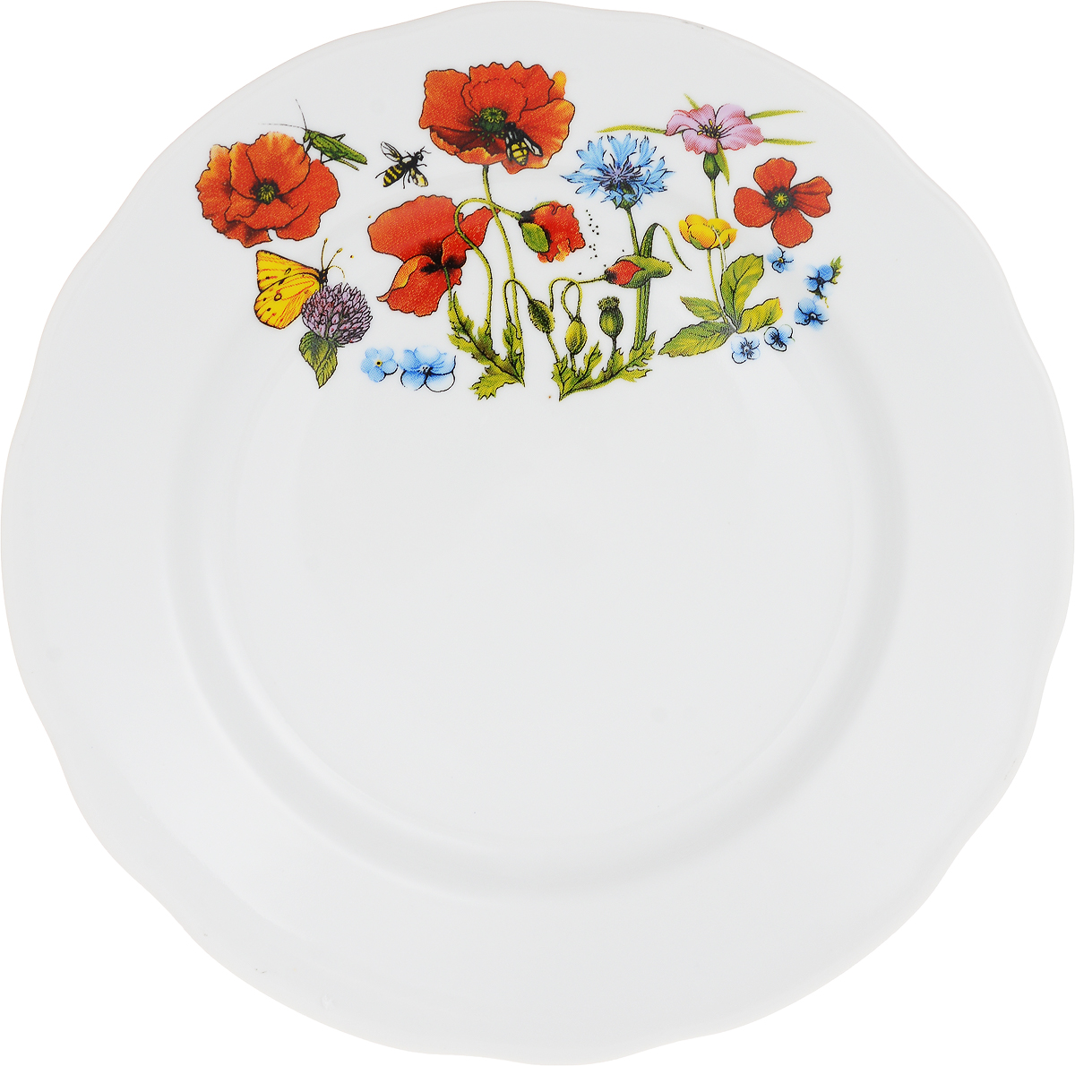 Тарелка мелкая Дулевский Фарфор Цветущий луг, диаметр 20 см073442Тарелка Дулевский Фарфор Цветущий луг выполнена из высококачественного фарфора, покрытого глазурью. Изделие дополнено красочным цветочным рисунком и вырезным краем. Такая тарелка отлично подойдет для подачи десертов, а также нарезок или закусок.