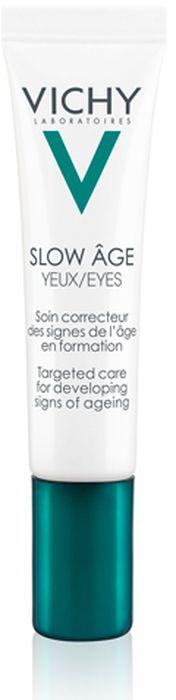 Vichy Slow Age для контура глаз, укрепляющий крем против признаков старения, 15 млM9168800Слоу Аж Укрепляющий крем для глаз - это 1-й уход для контура глаз от VICHY, корректирующий не только видимые, но и зарождающиеся признаки старения. Корректирует признаки старения на разных стадиях формирования: - от кругов под глазами до выраженных синяков, - от недостаточного тонуса до мешков под глазами, - от линий обезвоженности до морщин. Антиоксидант Baicalin нейтрализует процессы окисления в коже.Пробиотик Bifidus укрепляет защитный барьер кожи.Минерализирующая термальная вода VICHY, обогащенная 15 минералами, нормализует рН-баланс и укрепляет межклеточные связи в коже.
