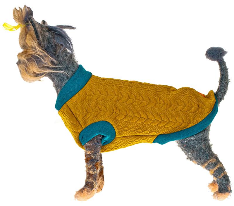 Свитшот для собак Happy Puppy, унисекс, цвет: горчичный, голубой. Размер M