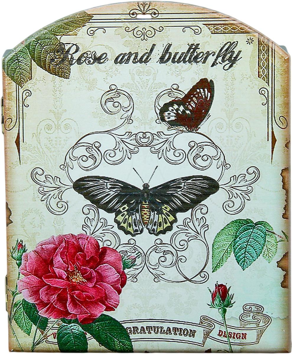 Ключница настенная Роза и бабочки, 23,4 х 19 х 5,5 см1033672Существует несколько значений слова ключница, но все они имеют примерно одинаковое предназначение. Например, что это должность прислуги, футляр или вешалка для хранения и пр. И эта Ключница Роза и бабочки будет гарантированно хранить ваши ключи четко в одном и том же месте. Теперь вам не придется постоянно искать свои ключи по всем карманам или прихожей, тратить на это бесценные минуты перед работой, кричать и будить родных, чтобы они помогли вам их найти. В такую оригинальную ключницу, напоминающую маленький кукольный шкаф, ключики потянутся сами, ведь для них это словно пятизвездочный отель. Они будут чувствовать себя в безопасности, прибывать в добром расположении духа и никогда не станут от Вас прятаться по разным углам и потайным местечкам.