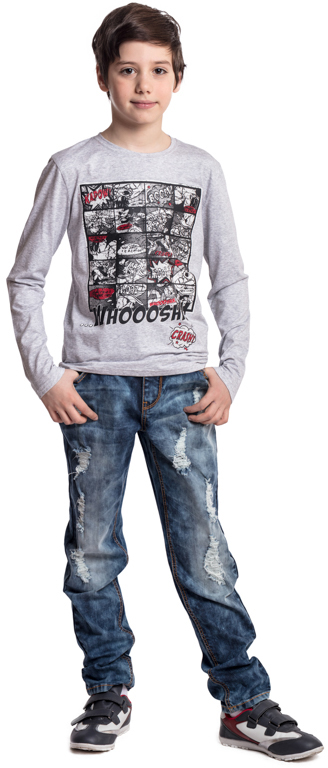 Джинсы для мальчика Scool, цвет: синий. 373015. Размер 140373015Практичные джинсы Scool - отличное решение для повседневного гардероба ребенка. Классическая пятикарманная модель. Пояс изнутри регулируется за счет удобной резинки на пуговицах. Джинсы со шлевками, при необходимости можно использовать ремень. Модель декорирована декоративными потертостями.