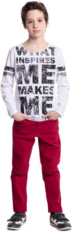 Футболка с длинным рукавом для мальчика Scool, цвет: белый. 373018. Размер 152373018Футболка с длинным рукавом Scool - отличное решение для повседневного гардероба. В качестве декора использован контрастный принт. Свободный крой не сковывает движений ребенка. Горловина, манжеты и низ изделия без обработки, с эффектом открытого края.