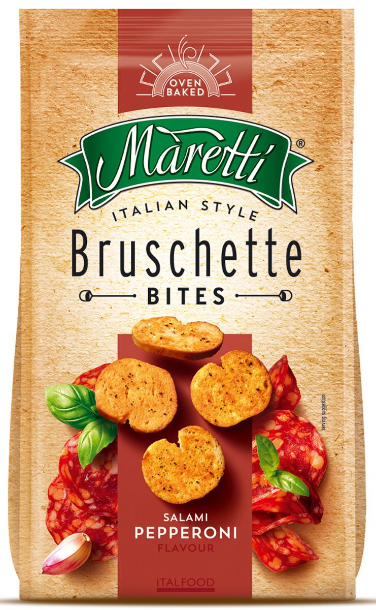 Maretti хлебные ломтики со вкусом колбаски пепперони, 70 г2294Maretti - бренд, сочетающий традиции итальянской выпечки и современный продуктовый формат - хлебный снек. Вдохновленные богатым ремесленным наследием и любовью к хорошим ингредиентам, хлебные ломтики Maretti - удовольствие хорошего вкуса и отличного досуга!Хрустящие хлебные ломтики в сочетании с салями пепперони - комбинация, придающая аппетитную, пикантную нотку.