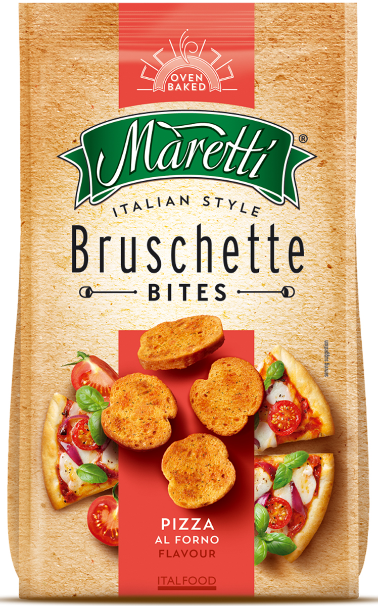 Maretti хлебные ломтики со вкусом пицца, 70 г2295Maretti - бренд, сочетающий традиции итальянской выпечки и современный продуктовый формат - хлебный снек. Вдохновленные богатым ремесленным наследием и любовью к хорошим ингредиентам, хлебные ломтики Maretti - удовольствие хорошего вкуса и отличного досуга!Ингредиенты классической итальянской пиццы на дважды запечённых хлебных кружочках - изысканный вкус итальянской легенды.