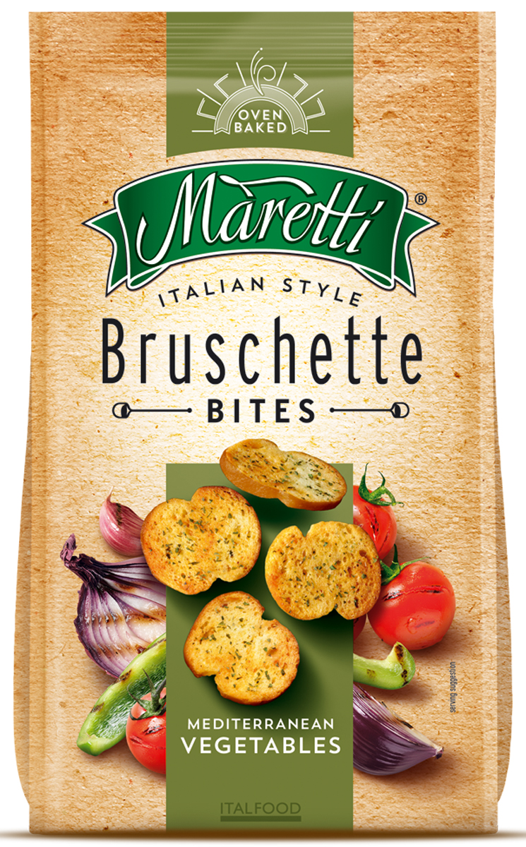 Maretti хлебные ломтики со вкусом средиземноморские овощи, 70 г2293Maretti - бренд, сочетающий традиции итальянской выпечки и современный продуктовый формат - хлебный снек. Вдохновленные богатым ремесленным наследием и любовью к хорошим ингредиентам, хлебные ломтики Maretti - удовольствие хорошего вкуса и отличного досуга!Хрустящие хлебные ломтики, приправленные интригующим миксом овощных специй, с легким, пряным ароматом.
