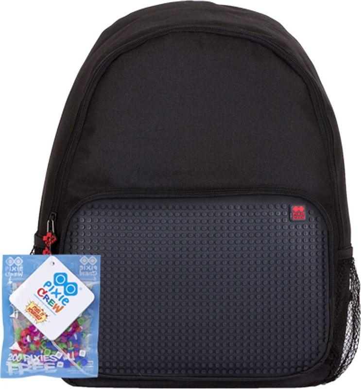 Pixie Crew Рюкзак цвет черныйPXB-01-L24Рюкзак Pixie Crew со специальной силиконовой панелью позволяет с помощью входящего в комплект базового набора пикселей создать индивидуальную картинку.Рюкзак содержит одно основное отделение на застежке-молнии. На лицевой стороне изделия располагается накладной карман на молнии, по бокам - два открытых сетчатых кармана. Рюкзак оснащен текстильной ручкой для переноски в руке и лямками регулируемой длины.
