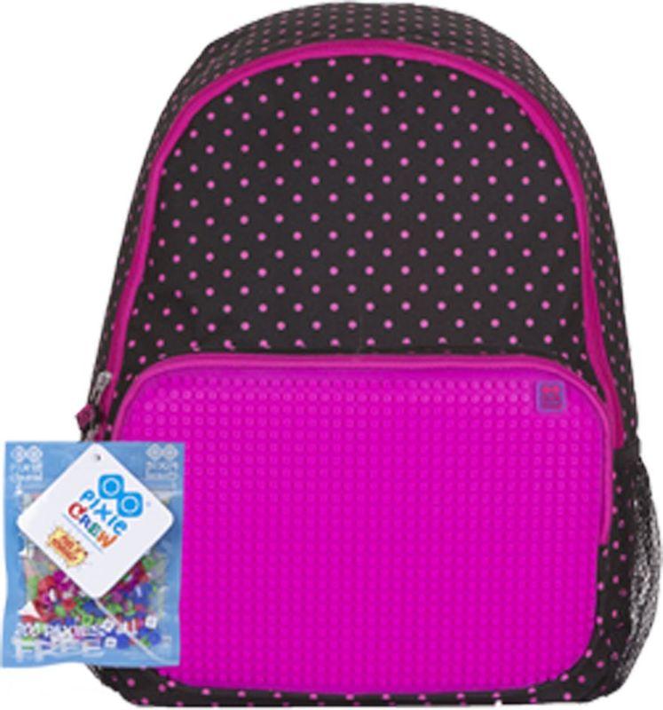 Pixie Crew Рюкзак цвет черный розовыйPXB-02-L15Рюкзак Pixie Crew со специальной силиконовой панелью позволяет с помощью входящего в комплект базового набора пикселей создать индивидуальную картинку.Рюкзак содержит одно основное отделение на застежке-молнии. На лицевой стороне изделия располагается накладной карман на молнии, по бокам - два открытых сетчатых кармана. Рюкзак оснащен текстильной ручкой для переноски в руке и лямками регулируемой длины.