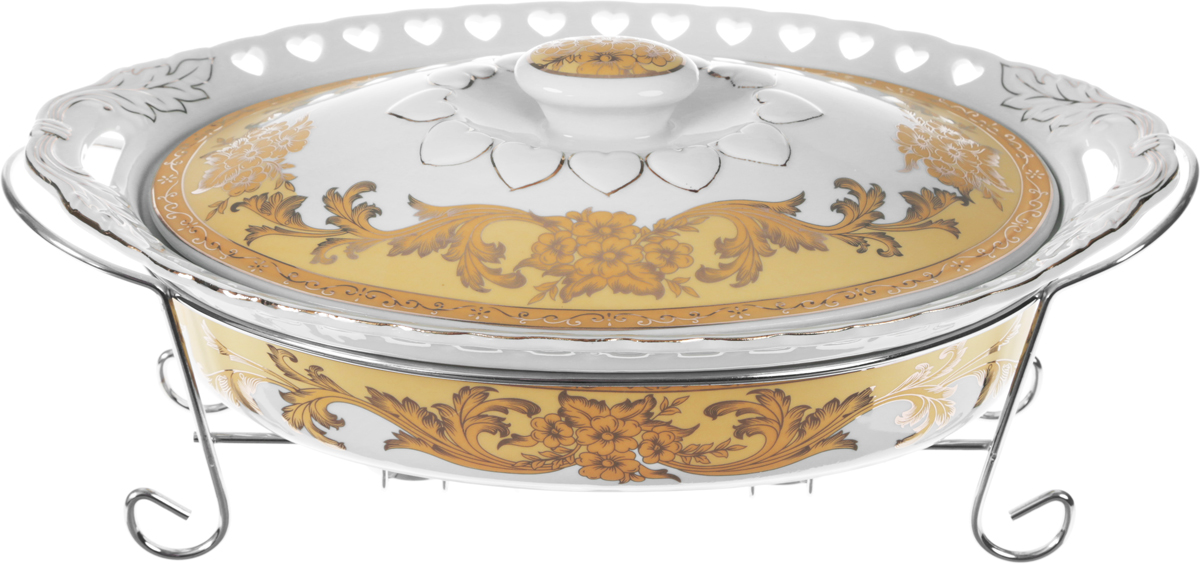 Мармит Loraine, 3 предмета, с 2 свечами, 2,5 л. 2653826538Мармит Loraine выполнен из керамики, украшенной рисунком. Керамическая чаша с удобными ручками располагается на стальной подставке с двумя подсвечниками для чайных свечей (входят в комплект). Свечи, устанавливающиеся на подставке, нагревают чашу снизу, таким образом, поддерживая нужную температуру приготовленного блюда.Керамическая крышка с удобной ручкой плотно прикрывает чашу сверху, в свою очередь, не давая остыть блюду.Благодаря своему элегантному дизайну, мармит с приготовленным блюдом можно сразу подавать на стол, не перекладывая еду на сервировочные тарелки. Изящный, с современным дизайном, мармит украсит любой праздничный стол, а блюда в нем будут всегда теплыми и ароматными.Керамическая чаша (без подставки) подходит для использования в духовом шкафу и микроволновой печи.Подходит для мытья в посудомоечной машине.Подходит для хранения в холодильнике.