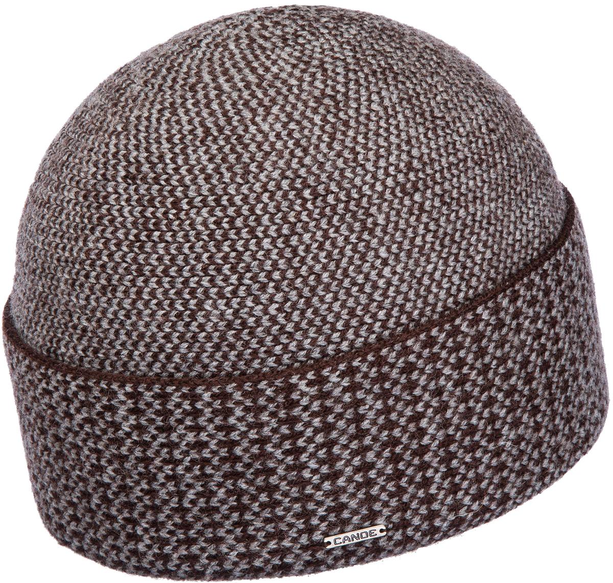 Шапка мужская Canoe Edinburgh, цвет: коричнево-серый. 3441085. Размер 56/593441085Классическая мужская шапка Canoe Edinburgh с широким отворотом отлично дополнит ваш образ в холодную погоду. Сочетание шерсти и акрила максимально сохраняет тепло и обеспечивает удобную посадку, невероятную легкость и мягкость. Визуально пряжа имеет оригинальное, двухцветное переплетение, создающее ощущение объема и глубины. Шапка украшена металлической пластиной с логотипом фирмы. Стильная шапка Canoe Edinburgh подчеркнет ваш неповторимый стиль и индивидуальность.