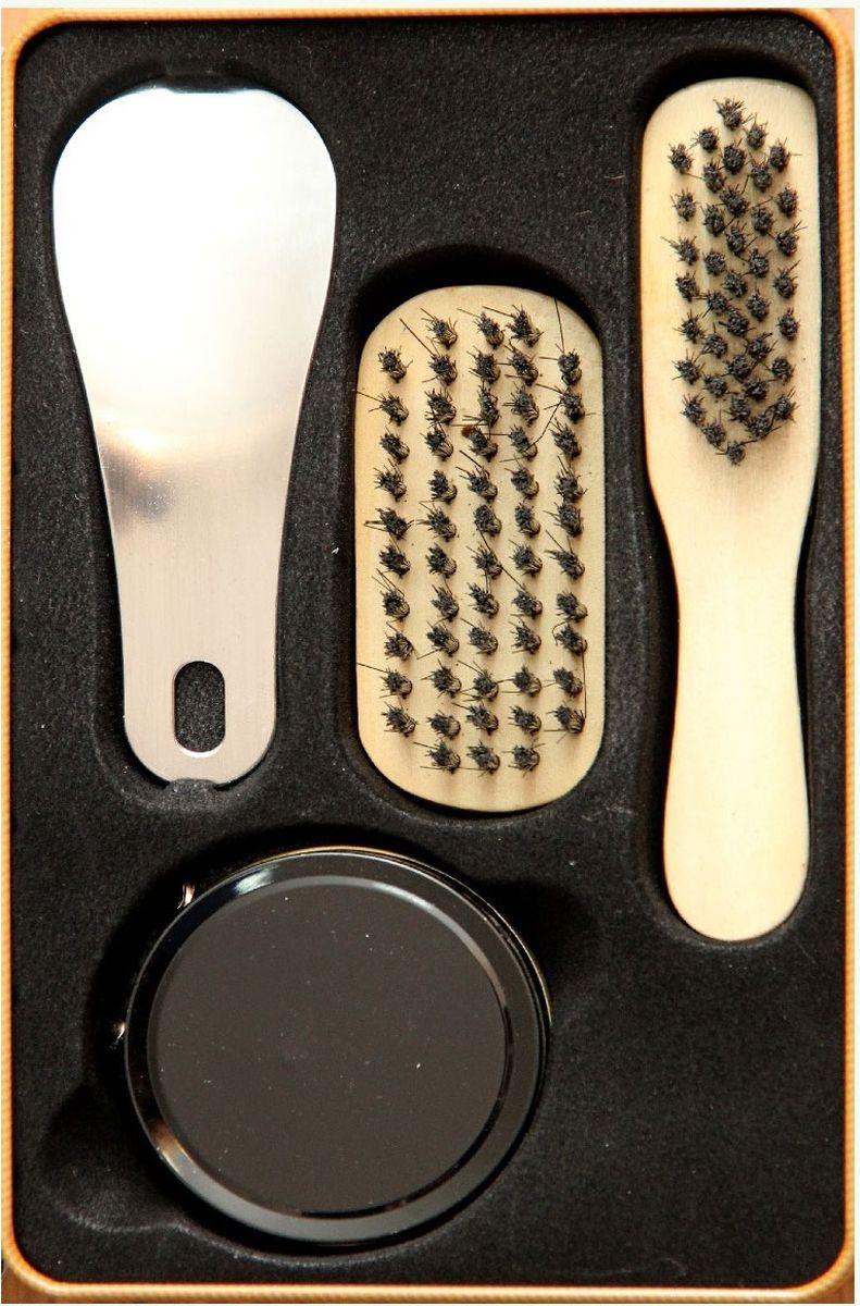 Набор для ухода за обувью Magic Home, 4 предмета. 4091740917Набор для ухода за обувью предназначен для защиты вашей обуви от уличной грязи. Набор хранится в металлической коробочке размером 18,4 х 11,5 х 7,2 см. В набор входит 4 предмета: щетка малая с синтетическим (полиэстер) ворсом , щетка средняя с синтетическим (полиэстер) ворсом, крем для обуви на основе парафина (бесцветный), рожок для обуви из нержавеющей стали. Такой набор будет незаменим в дороге, путешествии или дома.