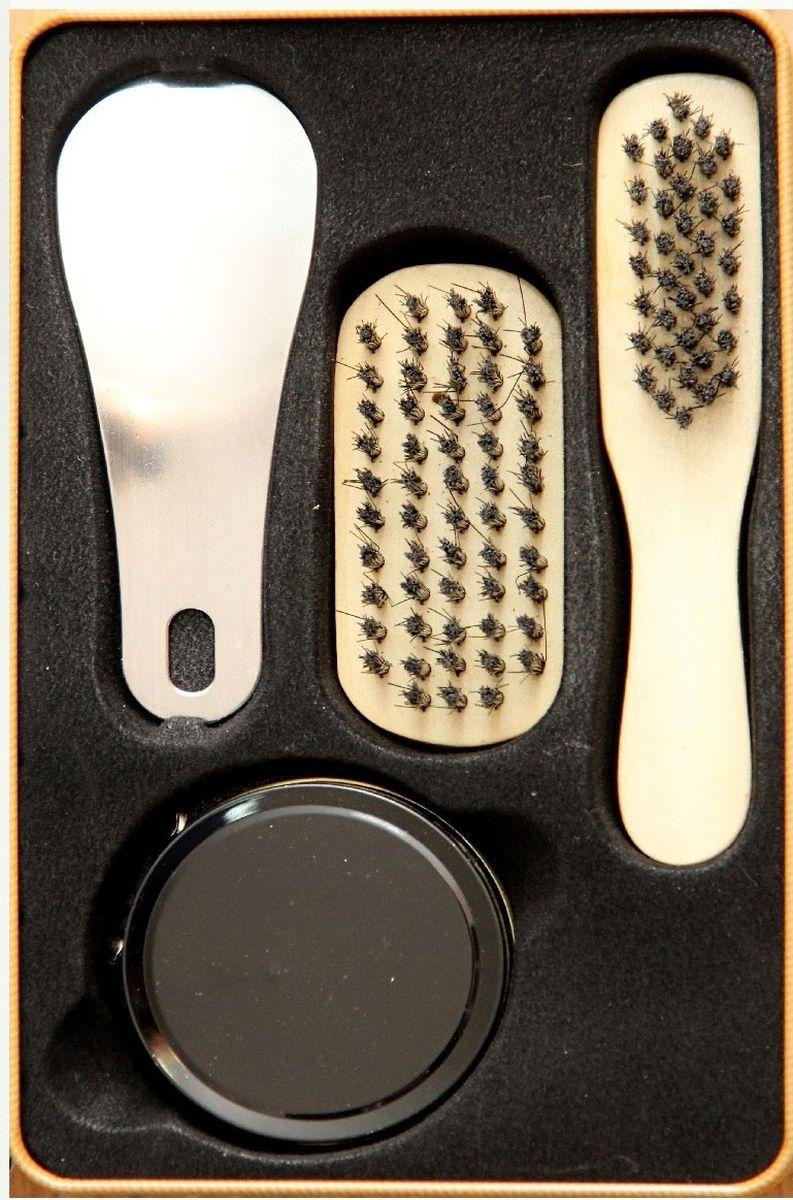 Набор для ухода за обувью Magic Home, 4 предмета. 4091940919Набор для ухода за обувью предназначен для защиты вашей обуви от уличной грязи. Набор хранится в металлической коробочке размером 18,4 х 11,5 х 7,2 см. В набор входит 4 предмета: щетка малая с синтетическим (полиэстер) ворсом , щетка средняя с синтетическим (полиэстер) ворсом, крем для обуви на основе парафина (бесцветный), рожок для обуви из нержавеющей стали. Такой набор будет незаменим в дороге, путешествии или дома.