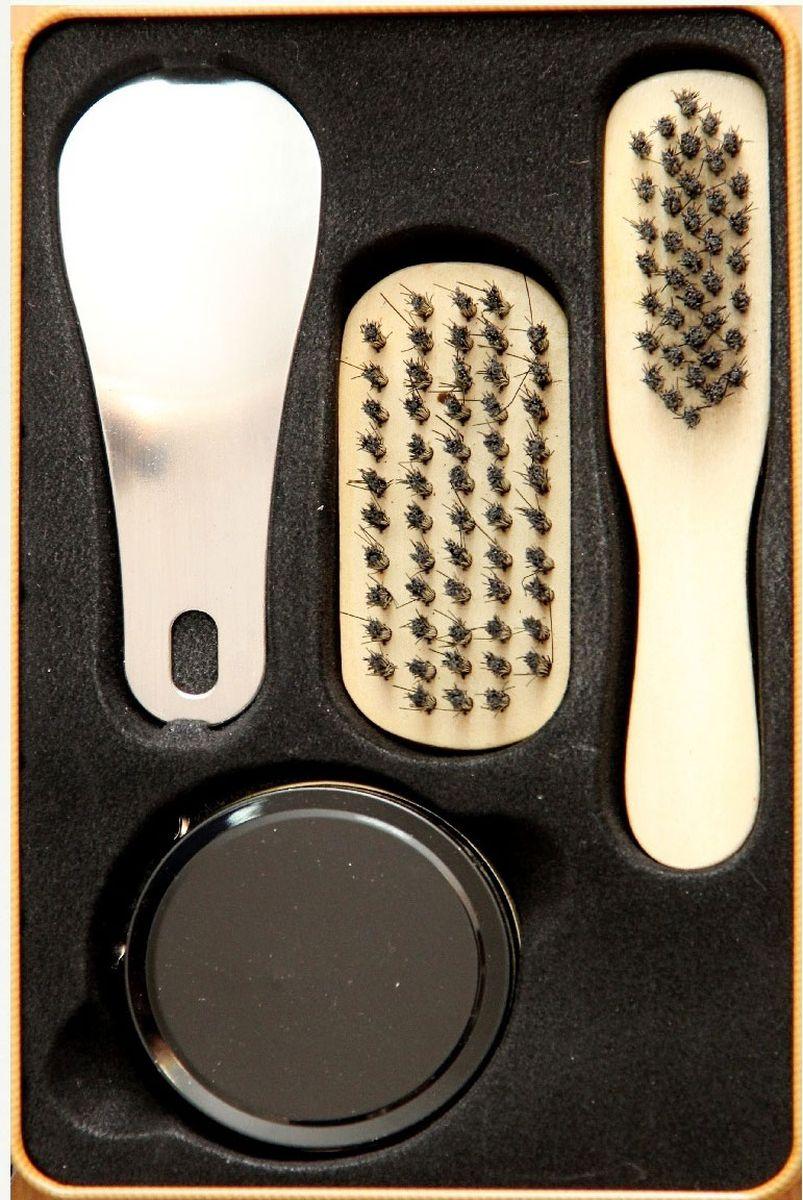 Набор для ухода за обувью Magic Home, 4 предмета. 4092140921Набор для ухода за обувью предназначен для защиты вашей обуви от уличной грязи. Набор хранится в металлической коробочке размером 18,4 х 11,5 х 7,2 см. В набор входит 4 предмета: щетка малая с синтетическим (полиэстер) ворсом , щетка средняя с синтетическим (полиэстер) ворсом, крем для обуви на основе парафина (бесцветный), рожок для обуви из нержавеющей стали. Такой набор будет незаменим в дороге, путешествии или дома.