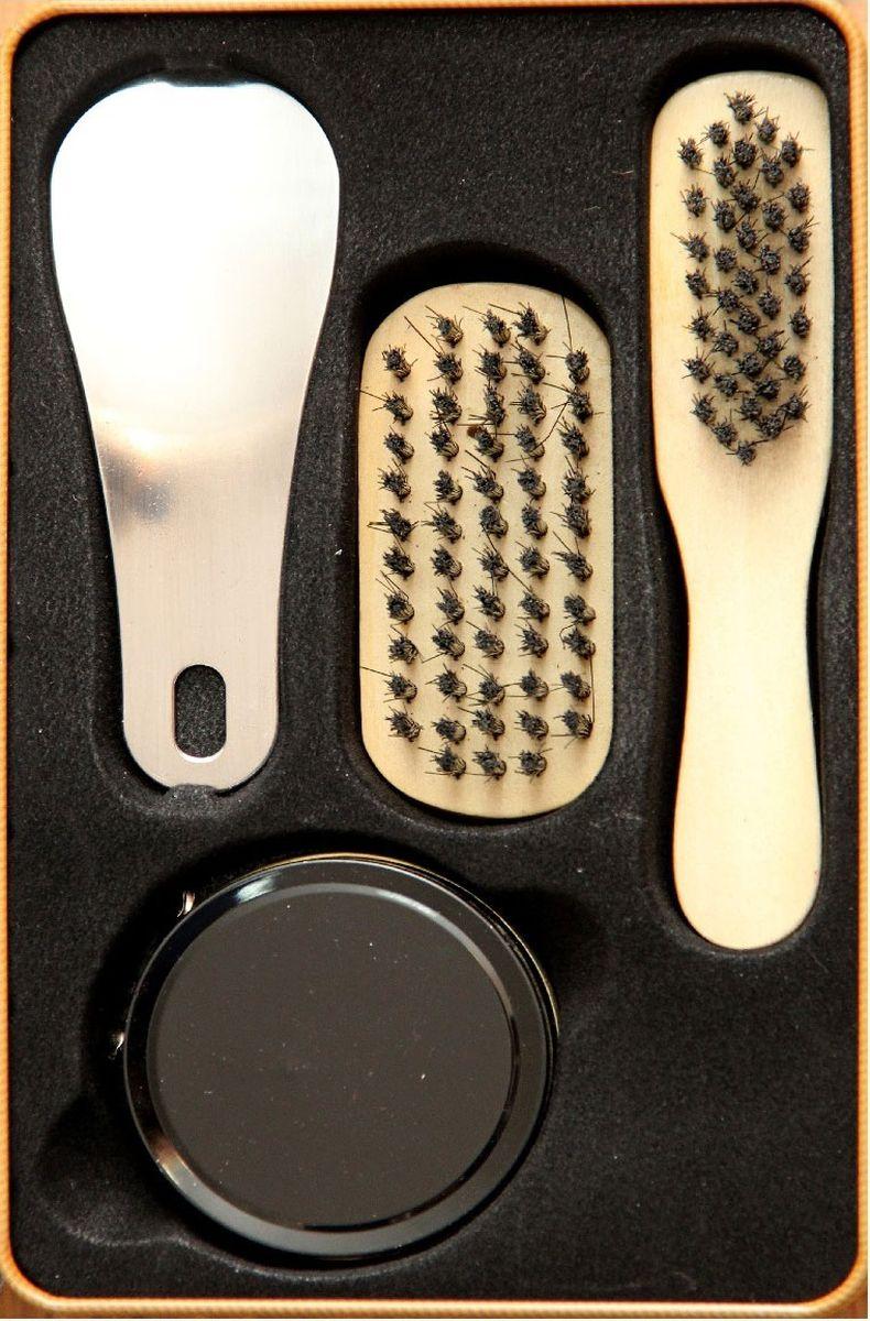 Набор для ухода за обувью Magic Home, 4 предмета. 40922SV3029СБНабор для ухода за обувью Magic Home предназначен для защиты вашей обуви от уличнойгрязи.В набор входит 4 предмета: щетка малая с синтетическим (полиэстер) ворсом , щетка средняя ссинтетическим (полиэстер) ворсом, крем для обуви на основе парафина (бесцветный), рожок дляобуви из нержавеющей стали.Такой набор будет незаменим в дороге, путешествии или дома. Набор хранится в металлической коробочке размером 18,4 х 11,5 х 7,2 см.