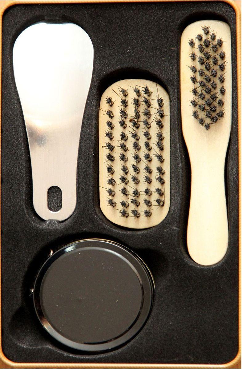 Набор для ухода за обувью Magic Home, 4 предмета. 4092440924Набор для ухода за обувью предназначен для защиты вашей обуви от уличной грязи. Набор хранится в металлической коробочке размером 18,4 х 11,5 х 7,2 см. В набор входит 4 предмета: щетка малая с синтетическим (полиэстер) ворсом , щетка средняя с синтетическим (полиэстер) ворсом, крем для обуви на основе парафина (бесцветный), рожок для обуви из нержавеющей стали. Такой набор будет незаменим в дороге, путешествии или дома.
