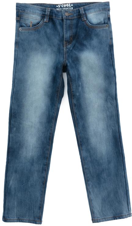 Джинсы для мальчика Scool, цвет: синий. 373084. Размер 164373084Джинсы Scool выполнены из смесовой ткани, с высоким содержанием хлопка. Классическая модель со шлевками, при необходимости можно использовать ремень. Брюки дополнены карманами.