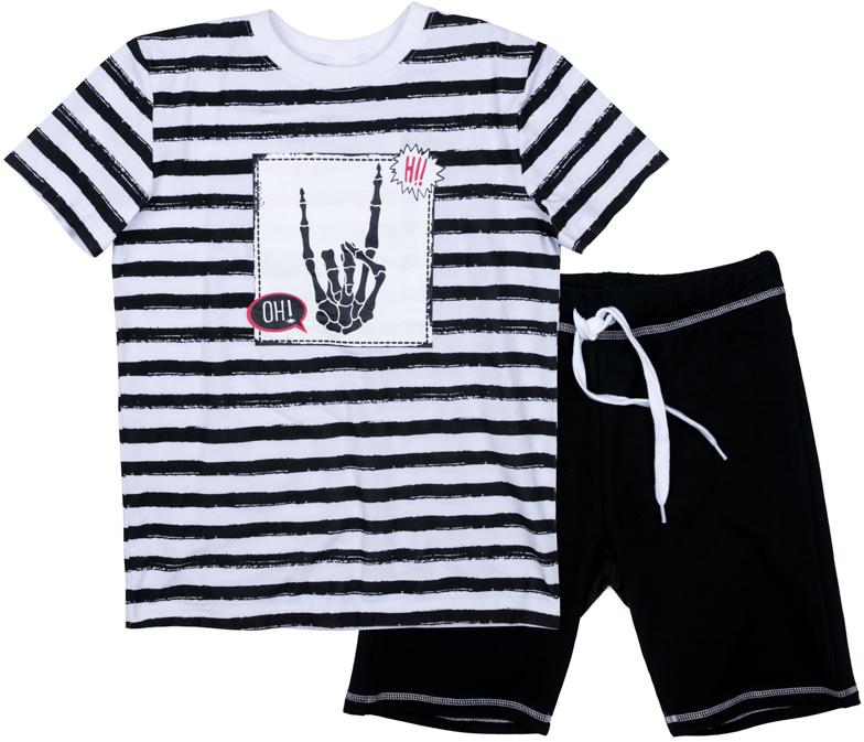 Комплект одежды для мальчика Scool: футболка, шорты, цвет: черный, белый. 373102. Размер 146373102Комплект Scool из футболки и шорт сможет быть и повседневной, и домашней одеждой. Шорты на широкой резинке, не сдавливающей живот ребенка, с регулируемым шнуром-кулиской, дополнены карманами. В качестве декора использован яркий принт.