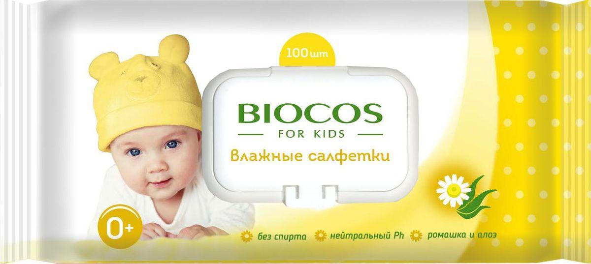BioCos Влажные салфетки, для детей, с клапаном, 100 шт18833Мягкие и нежные влажные гигиенические детские салфетки предназначены для очищения нежной кожи малышей. Пропитаны очищающим лосьоном с экстрактами ромашки и алоэ, успокаивающим и препятствующим возникновению раздражения. Не содержат спирт