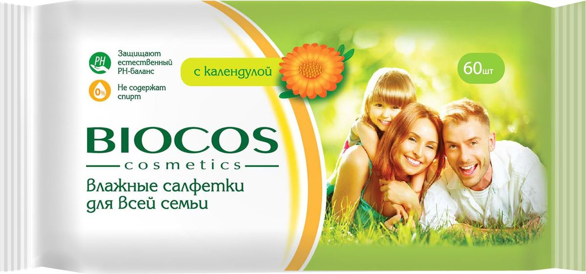 BioCos Влажные салфетки, универсальные, для всей семьи, 60 шт8181