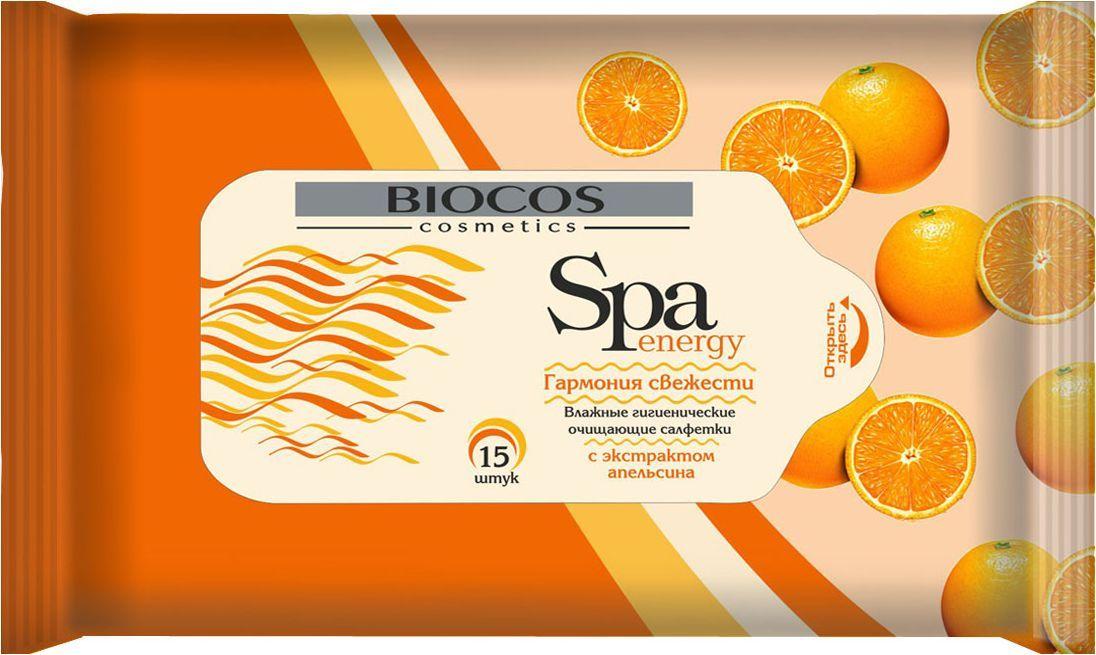 BioCos Влажные салфетки SPA Energy. Апельсин, 15 шт9473