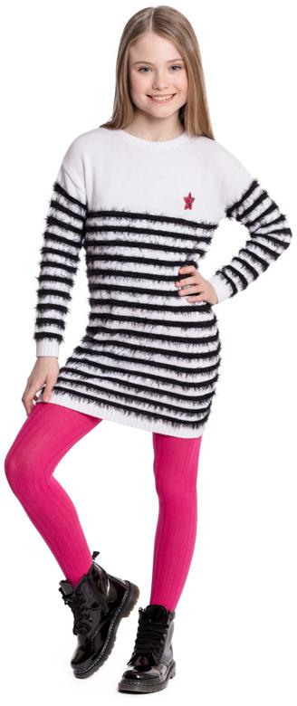 Платье для девочки Scool, цвет: белый, черный. 374008. Размер 146374008Вязаное платье Scool - отличное дополнение к повседневному гардеробу ребенка. Модель из двух видов пряжи - обычной и с эффектом пуха. Свободный крой не сковывает движений ребенка. Горловина, манжеты и низ изделия на мягких трикотажных резинках. Платье дополнено аккуратной аппликацией из пайеток.