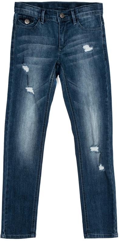 Джинсы для девочки Scool, цвет: синий. 374010. Размер 146374010Джинсы Scool выполнены из смесовой ткани с высоким содержанием хлопка. Классическая модель со шлевками. При необходимости можно использовать ремень. В качестве декора использованы потертости.