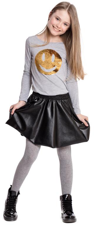 Футболка с длинным рукавом для девочки Scool, цвет: серый. 374024. Размер 158374024Футболка с длинным рукавом Scool - отличное дополнение к повседневному гардеробу ребенка. Свободный крой не сковывает движений. Модель декорирована эффектной аппликацией - смайлом из пайеток. Горловина на мягкой резинке.