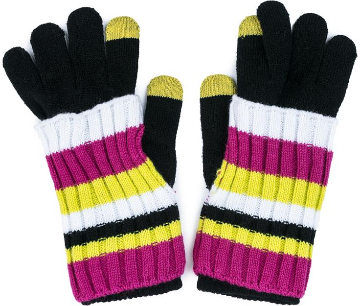 Перчатки для девочки Scool, цвет: черный, белый, розовый, желтый. 374032. Размер 16374032Smart Gloves - перчатки для сенсорных экранов! Вязаные перчатки станут идеальным вариантом для прохладной погоды. Они очень мягкие, хорошо тянутся и прекрасно сохраняют тепло. На манжетах - плотная резинка, которая хорошо держит перчатки на руках ребенка. На большом и указательном пальцах вплетены специальные нити, которые позволяют пользоваться телефоном, не снимая перчаток с рук. Модель дополнена оригинальными митенками-накладками - утеплителем для кистей рук. Перчатки выполнены в технике Yarn Dyed - в процессе производства используются разного цвета нити. При рекомендуемом уходе изделие не линяет и надолго остается в первоначальном виде.