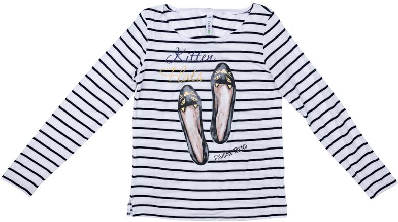 Футболка с длинным рукавом для девочки Scool, цвет: белый, черный. 374071. Размер 134374071Футболка с длинным рукавом Scool может быть и домашней, и повседневной одеждой. Модель из натурального хлопка. Декорирована ярким принтом.