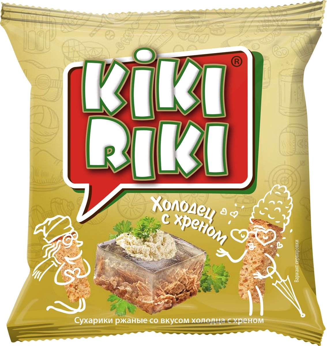 Kikiriki Сухарики ржаные, холодец с хреном, 66 штукпо 35 г24760156030138Сухарики ржано-пшеничные со вкусом холодца и хрена