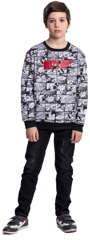 Свитшот для мальчика Scool, цвет: черный, белый. 573001. Размер 140573001Свитшот Scool - отличное дополнение к повседневному гардеробу ребенка. Горловина, манжеты и низ изделия на мягких трикотажных резинках. Модель декорирована ярким лицензированным принтом.