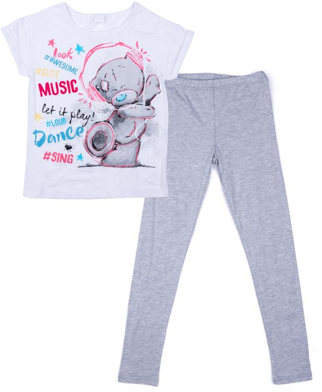 Комплект одежды для девочки S'cool: футболка, леггинсы, цвет: белый, светло-серый. 574102. Размер 146