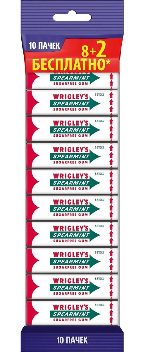 Wrigleys Spearmint жевательная резинка без сахара, 10 пачек по 13 г10 пачекКлассическая жевательная резинка Wrigley. Великолепный мятный вкус дарит свежесть уже более 100 лет.