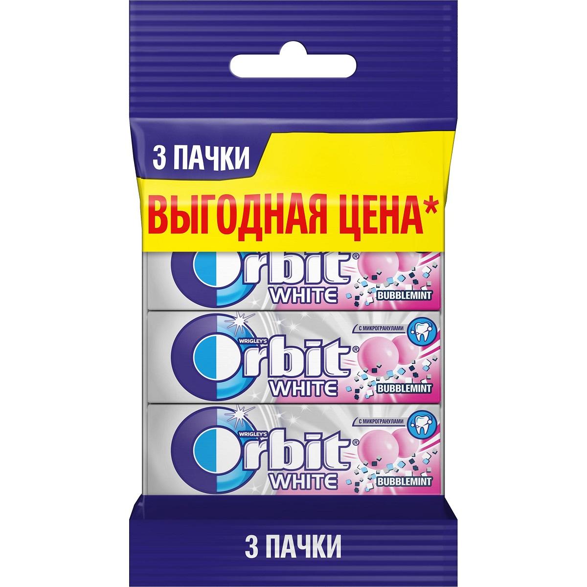 Orbit Bubblemint жевательная резинка без сахара, 3 пачки по 13,6 г8253366Жевательная резинка Orbit Белоснежный Bubblemint без сахара способствует поддержанию здоровья зубов: удаляет остатки пищи, способствует уменьшению зубного налета, нейтрализует вредные кислоты, усиливает процесс реминерализации эмали. *Употребление жевательной резинки каждый раз после еды способствует поддержанию чистоты и здоровья зубов в дополнение к уходу за ротовой полостью с помощью зубной щетки.