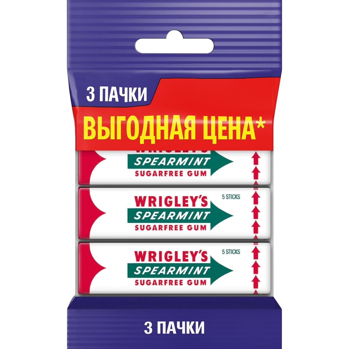 Wrigleys Spearmint жевательная резинка без сахара, 3 пачки по 13 г3 пачкиКлассическая жевательная резинка Wrigley. Великолепный мятный вкус дарит свежесть уже более 100 лет.
