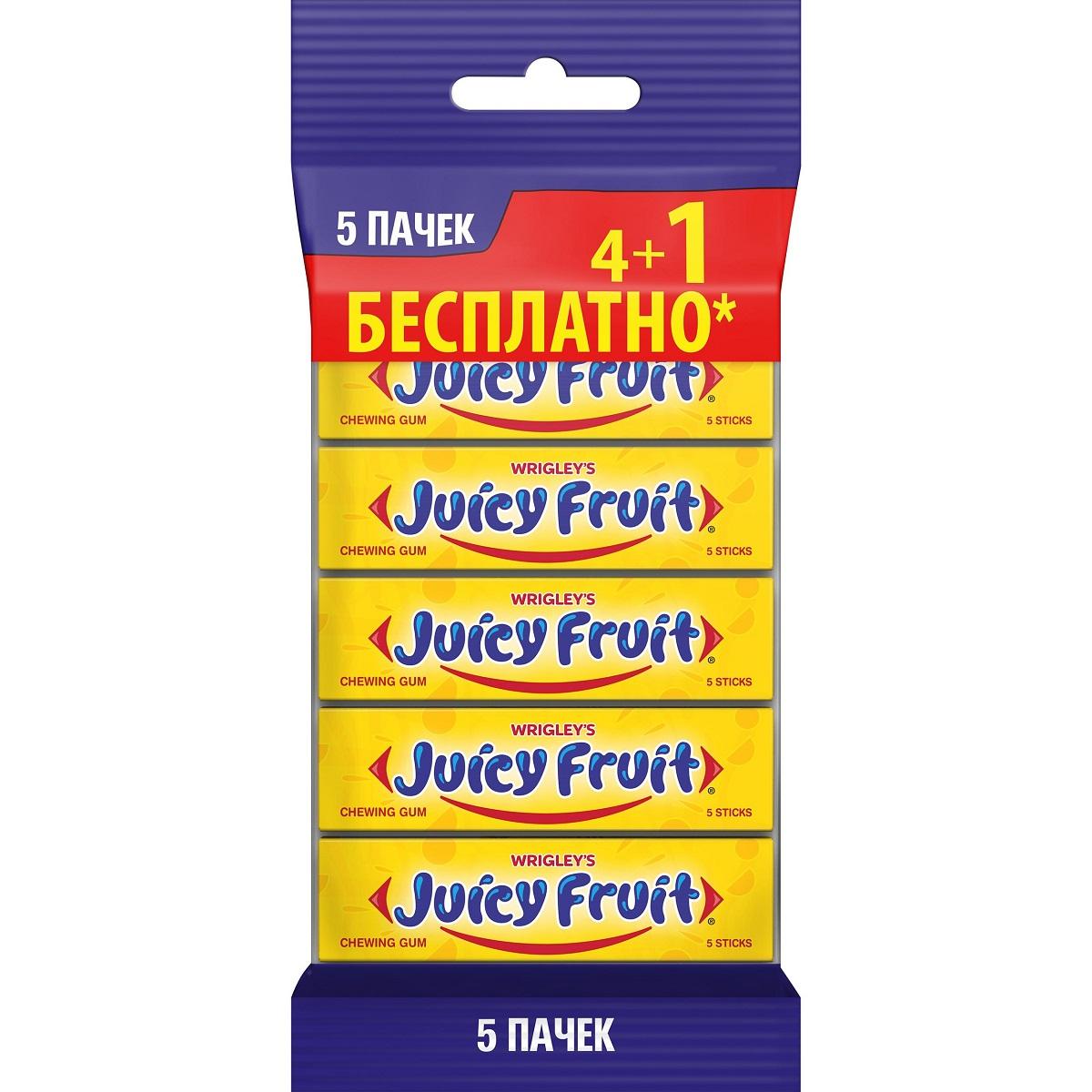 Juicy Fruit мультипак жевательная резинка 5 пачек по 13 г5 пачекКлассический фруктовый вкус в пластинках, давно полюбившийся многим потребителям жевательной резинки.