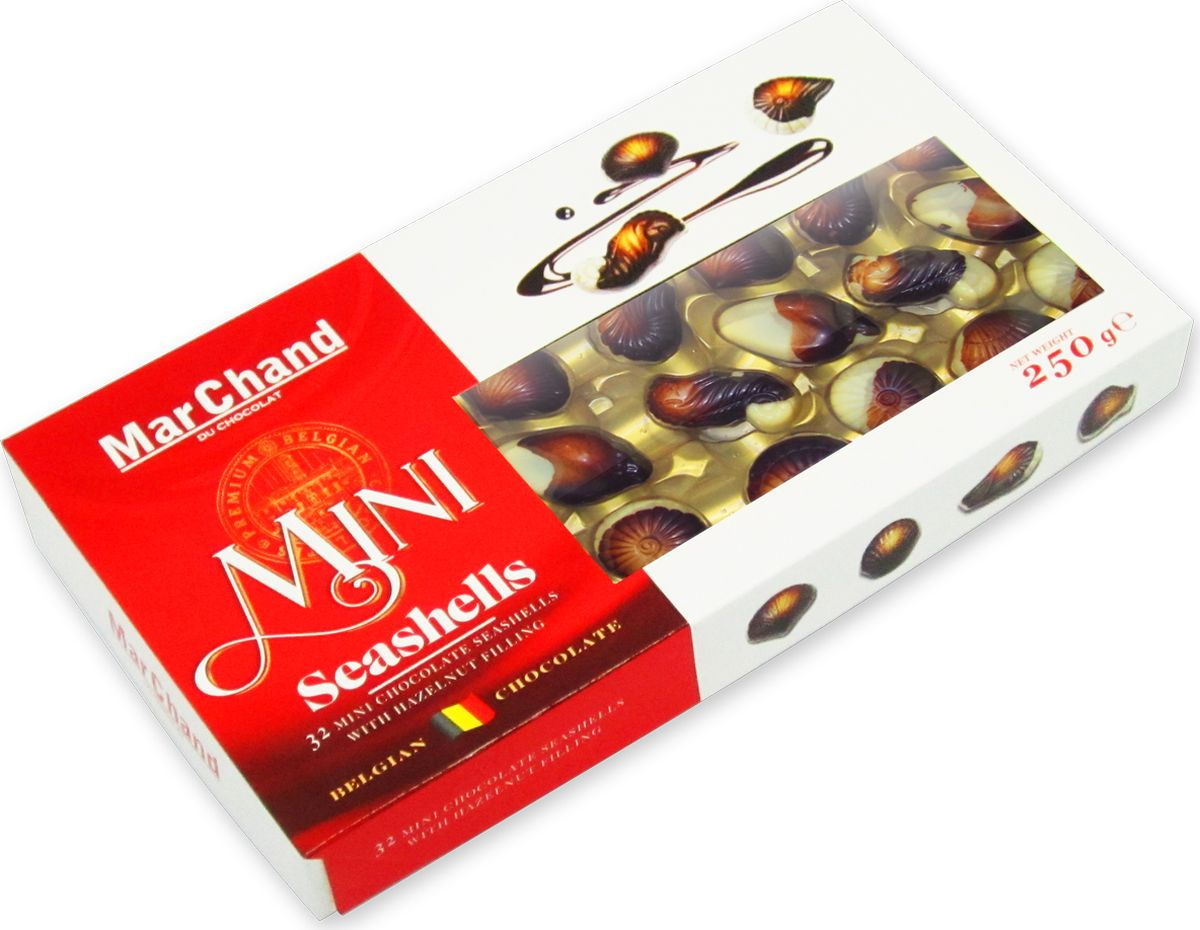 MarChand мини ракушки шоколадные конфеты, 250 г холст 40x55 printio будь добрее 6