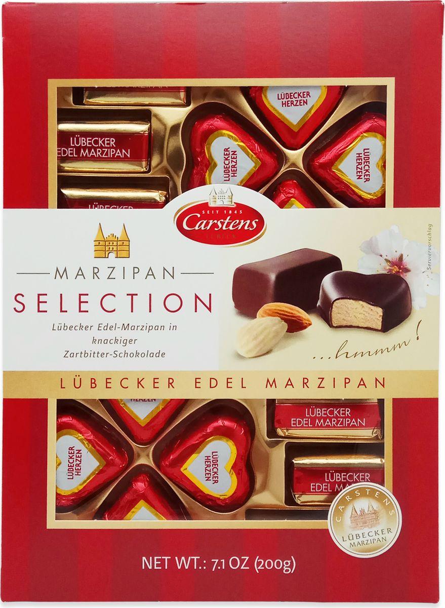 Carstens любекский марципан шоколадные конфеты в темном шоколаде, 200 г bigshock coko соевый энергетический батончик в темном шоколаде 65 г