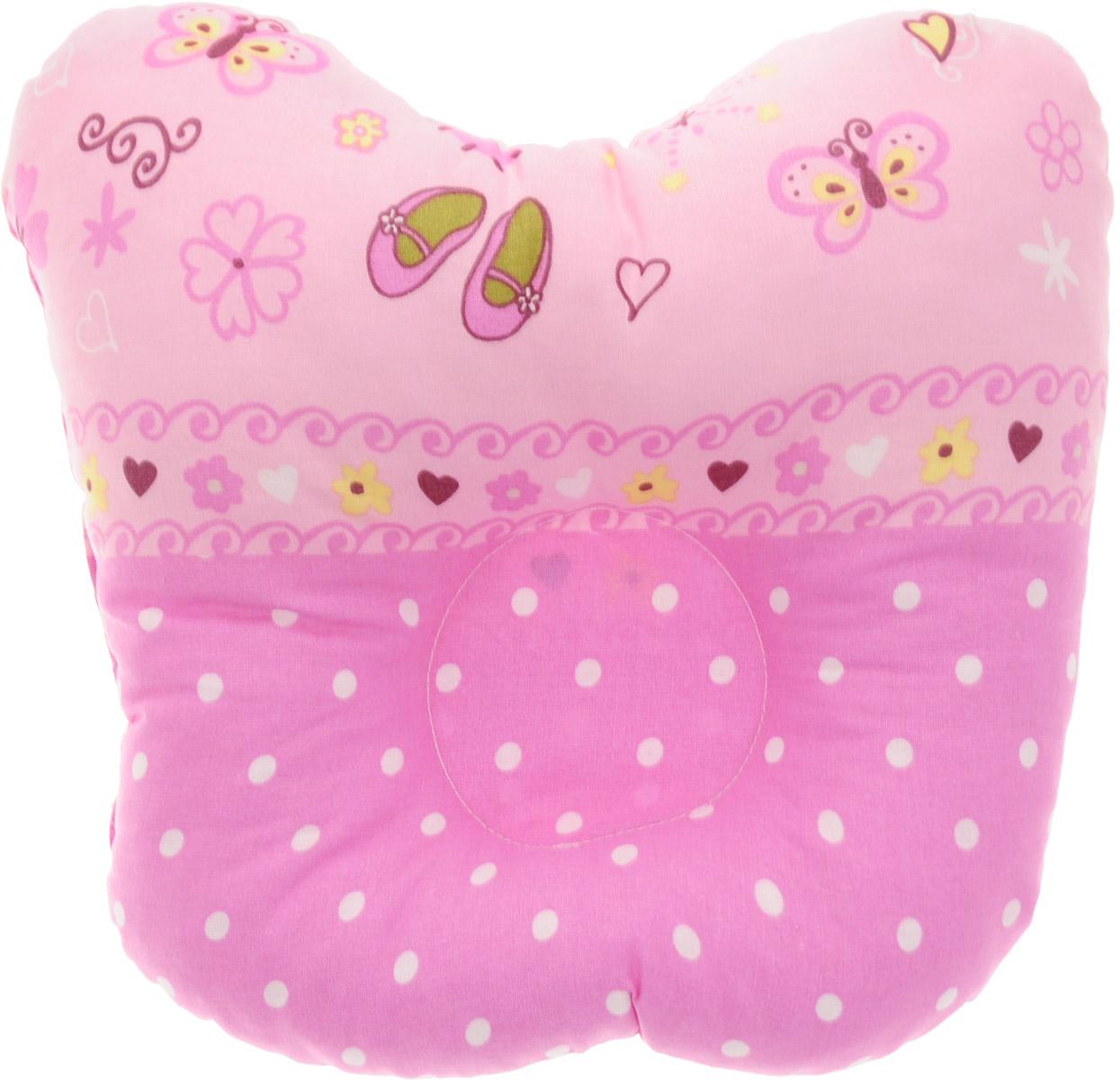 Сонный гномик Подушка анатомическая для младенцев Бабочки цвет розовый светло-розовый 27 х 27 см555А_розовый/бабочки, горохАнатомическая подушка для младенцев Сонный гномик Бабочки изготовлена из бязи - 100% хлопка. Наполнитель - синтепон в гранулах (100% полиэстер).Подушка компактна и удобна для пеленания малыша и кормления на руках, она также незаменима для сна ребенка в кроватке и комфортна для использования в коляске на прогулке. Углубление в подушке фиксирует правильное положение головы ребенка.Подушка помогает правильному формированию шейного отдела позвоночника.