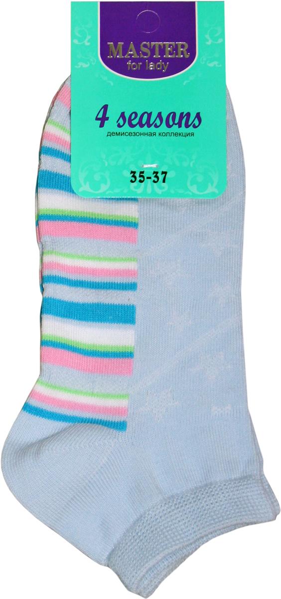 Носки женские Master Socks, цвет: голубой. 55910. Размер 2355910Удобные носки Master Socks, изготовленные из высококачественного комбинированного материала с хлопковой основой, очень мягкие и приятные на ощупь, позволяют коже дышать.Эластичная резинка плотно облегает ногу, не сдавливая ее, обеспечивая комфорт и удобство. Носки с укороченным паголенком оформлены принтом в полоску. Практичные и комфортные носки великолепно подойдут к любой вашей обуви.