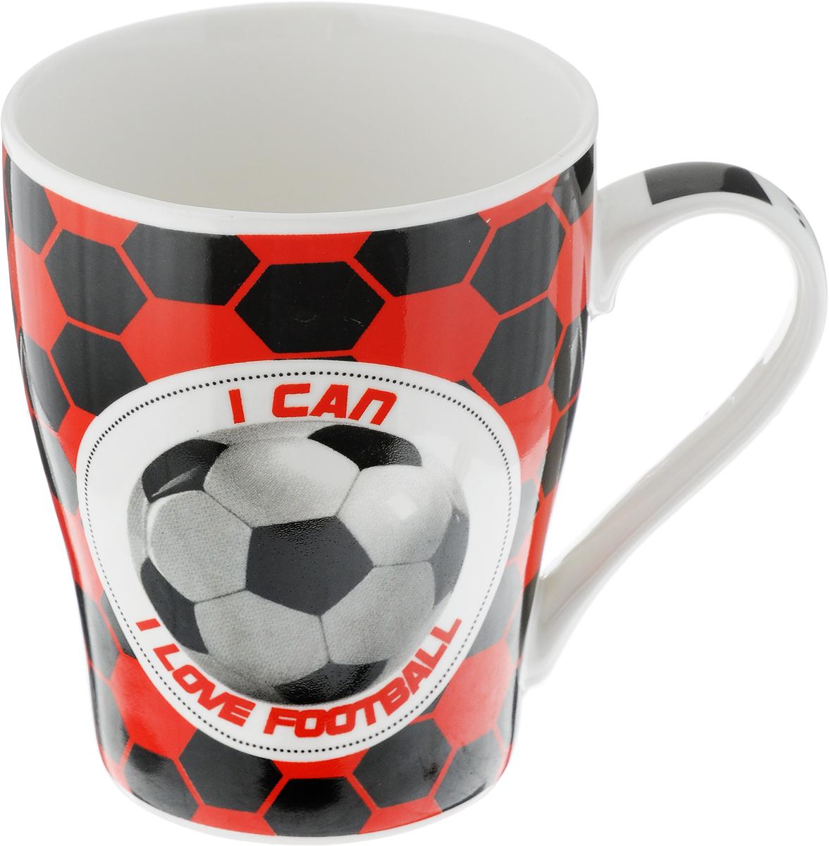 Кружка Loraine Футбол, цвет: белый, красный, черный, 340 мл кружка loraine футбол 340 мл 26652